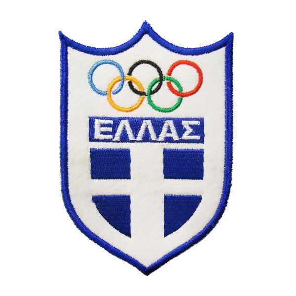 Embroidery Patch Greek Flag OLYMPIC circles 7x10cm