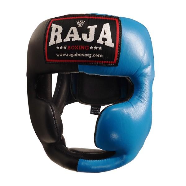 Head Guard Raja Chin and Cheek Protection Leather Black / Blue