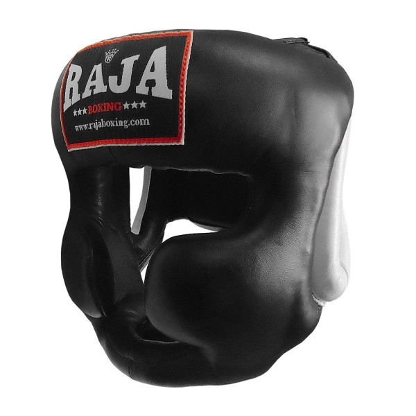 Head Guard Raja Chin and Cheek Protection Leather Black / White