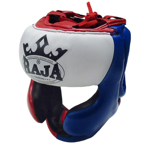 Head Guard Raja Chin and Cheek Protection Leather Blue / Red / White