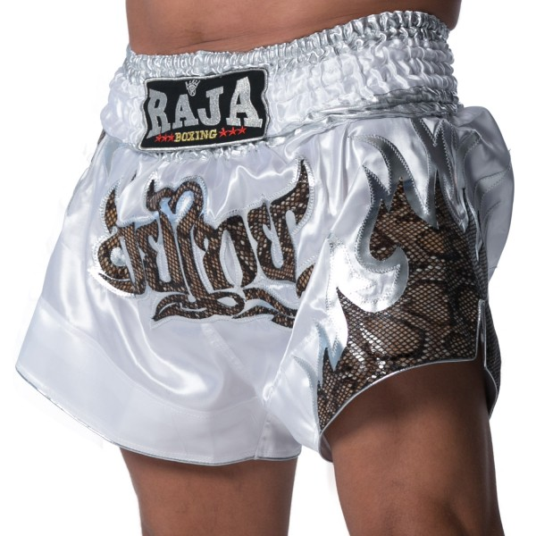 Thaiboxing Shorts RAJA SNAKE Skin Flame and THAI Writing