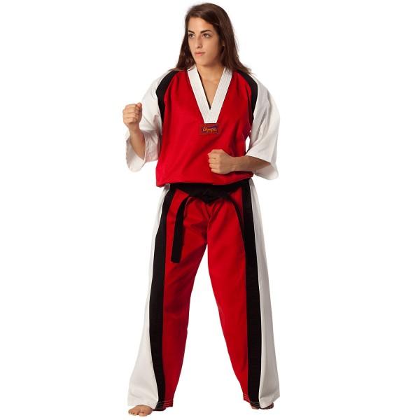 Semi Contact Uniform – Red/White & Black Stripe