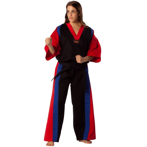Semi Contact Uniform – Black/Red & Blue Stripe