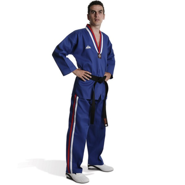 Taekwondo Uniform Olympus - DEMONSTRATION Blue with Red / White Stripes