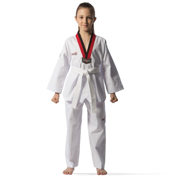 Taekwondo Uniform - KYORUGI POOM Black/Red Collar