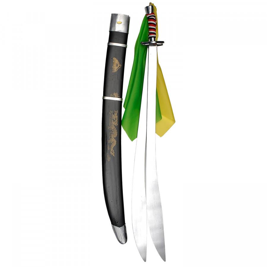 Σπαθί Shuang Dao Διπλό Κυρτό, για wushu και Κινέζικες πολεμικές τέχνες Μαύρη Θήκη