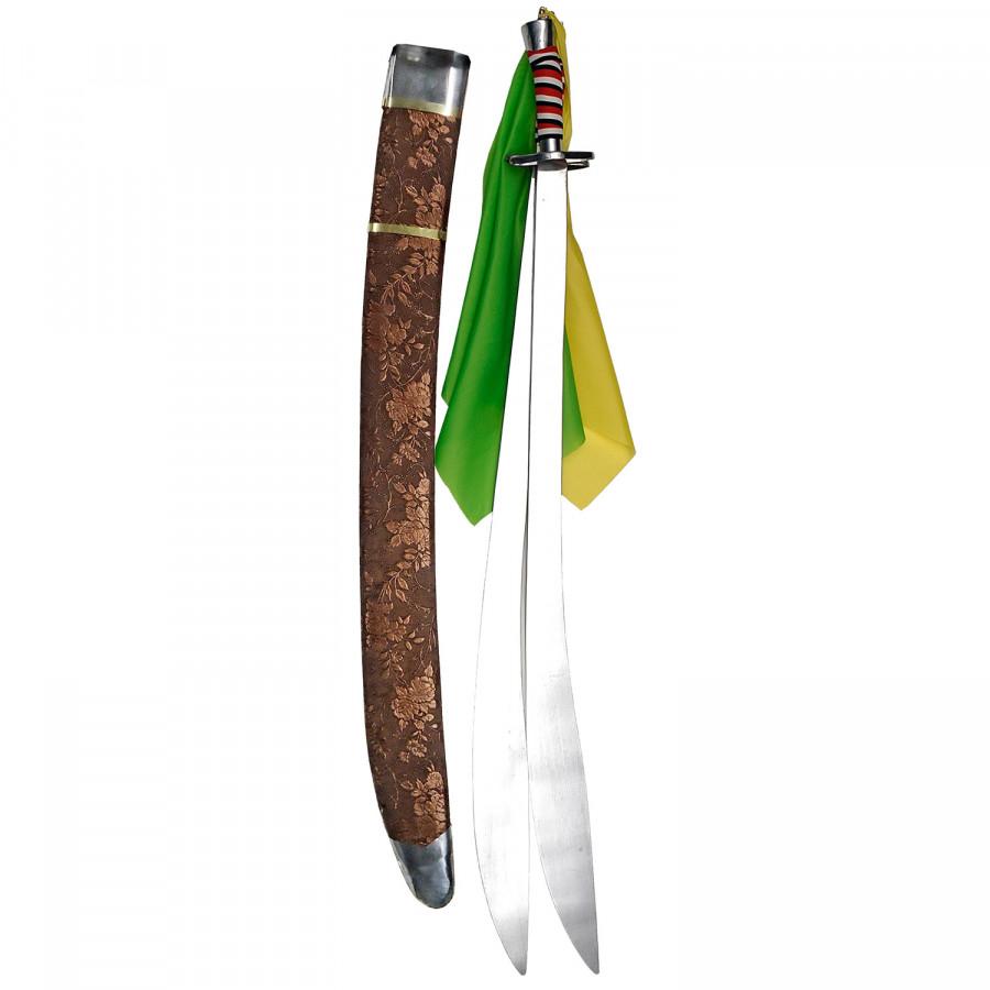 Σπαθί Shuang Dao Διπλό Κυρτό, για wushu και Κινέζικες πολεμικές τέχνες Χάλκινη Θήκη